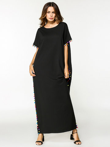 Casual Women Short Sleeve O-Neck Loose Long Maxi Dresses-Newchic-