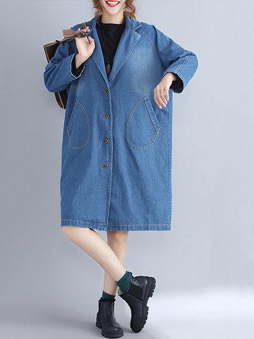 Casual Women Solid Lapel Denim Coat-Newchic-