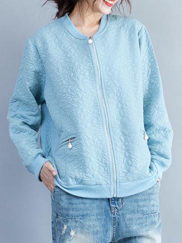 Casual Women Solid O-Neck Zipper Jacket-Newchic-