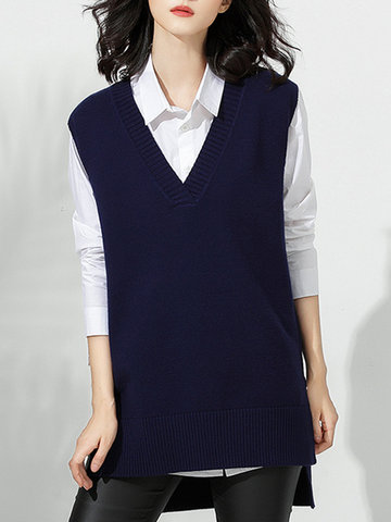 Casual Women Solid V-Neck Sleeveless Knit Vest-Newchic-