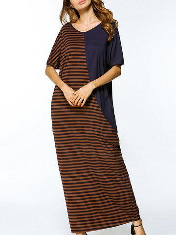 Casual Women Stripe Patchwork Short Sleeve Long Maxi Dresses-Newchic-