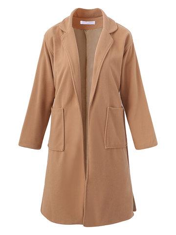 Casual Women Woolen Coats-Newchic-
