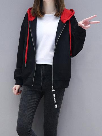 Casual Zipper Pocket Hooded Sweatshirt-Newchic-