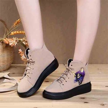 Cat Embroidered Lace Up Platform Casual Short Boots-Newchic-Multicolor