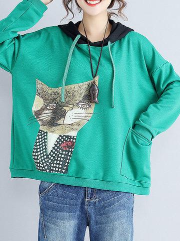 Cat Printed Hooded Pocket Sweatshirts-Newchic-