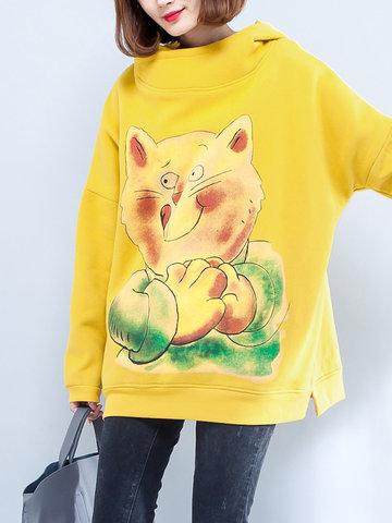 Cat Printed Hooded Sweatshirts-Newchic-
