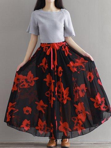 Chiffon Floral Print Tie High Waist Maxi Skirt For Women-Newchic-