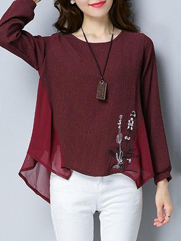 Chiffon Loose Embroidery T-Shirts-Newchic-