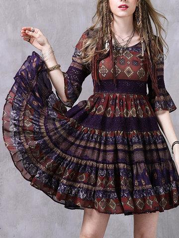 Chiffon Women Ethnic Short Sleeve O-Neck Dresses-Newchic-