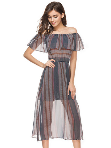 Chiffon Women Off Shoulder Sleeveless Striped Print Dresses-Newchic-