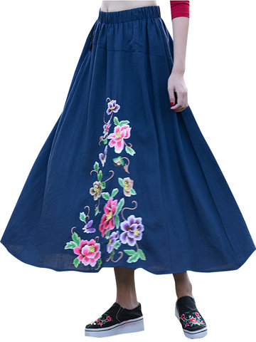 Chinese Style Embroidery Elastic Waist Skirts-Newchic-