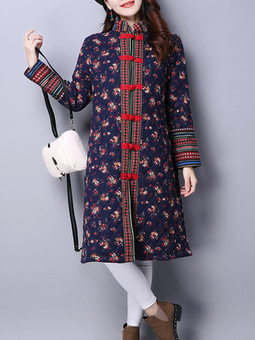 Chinese Style Printed Button Fly Coats-Newchic-