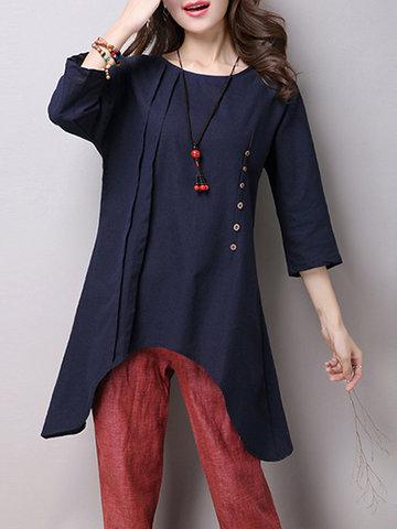 Chinese Style Ruffle Button Decoration Shirts-Newchic-