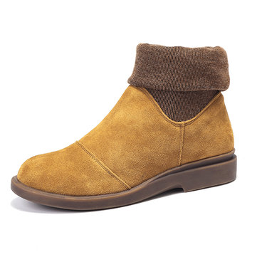 Color Blocking Ankle Genuine Leather Boots For Women-Newchic-Multicolor