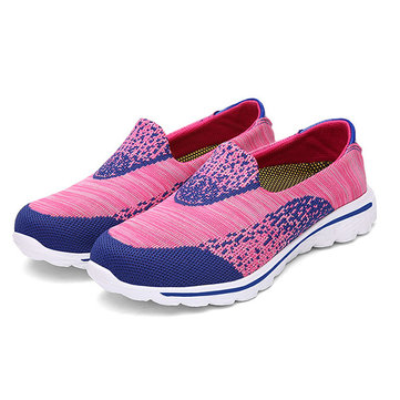 Color Match Comfortable Mesh Slip On Lazy Flat Casual Shoes-Newchic-Multicolor