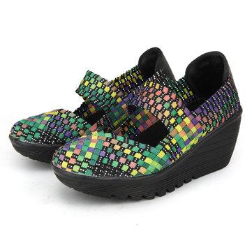 Color Match Elastic Belt Knitting Swing Slip On Platform Sport Sandals-Newchic-Multicolor