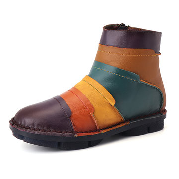 Colorful Leather Vintage Handmade Ankle Boots-Newchic-Multi-color