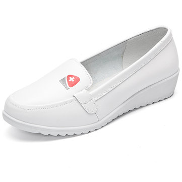 Comfortable Leather Nurse Shoes Wedges White Work Shoes-Newchic-White
