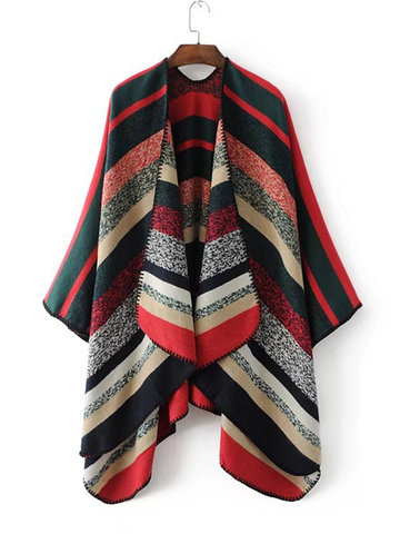 Contrast Color Knitted Cardigans-Newchic-