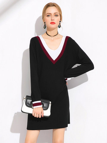 Contrast Color Knitted Long Sleeve Dress-Newchic-