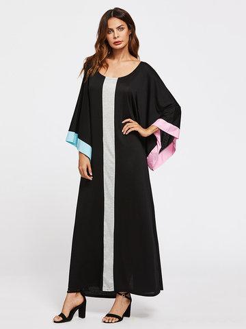 Contrast Color Loose Maxi Dresses-Newchic-
