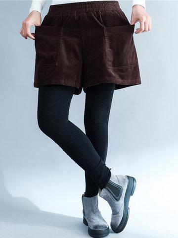 Corduroy Pocket Elastic Waist Shorts-Newchic-