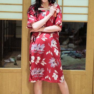 Cotton Flower Printed Short Sleeves Sleepwear Kimono Robes-Newchic-