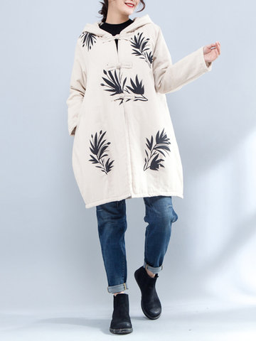 Cusual Hooded Printed Cotton Coats-Newchic-