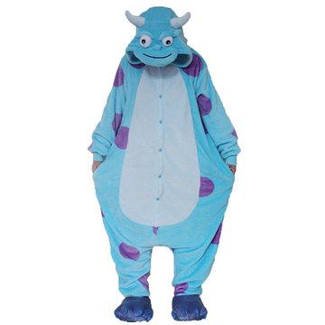 Cute Blue Dinosaur Cartoon Cosplay Unisex Flannel Nightwear-Newchic-