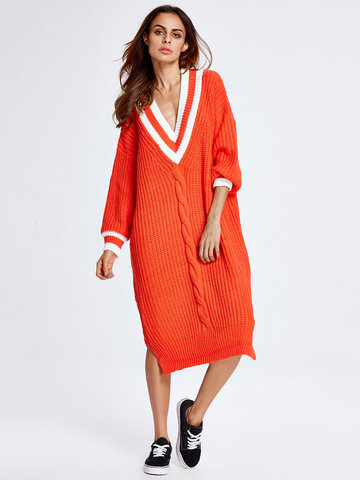 Deep V Patchwork Split Long Sweater-Newchic-