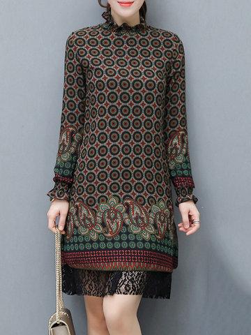 Dots Print Lace Patchwork Split Dress-Newchic-