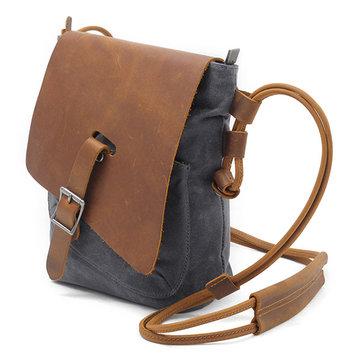 Ekphero Genuine Leather Canvas Shoulder Bags-Newchic-