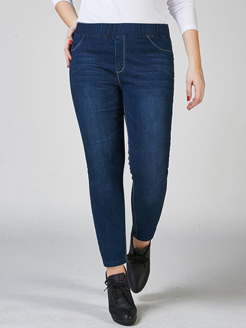 Elastic Waist Pocket Denim Blue Jeans-Newchic-