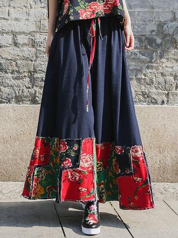 Elastic Waist Stitching Printed Skirts-Newchic-