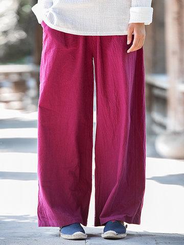 Elastic Waist Wide Leg Pants-Newchic-