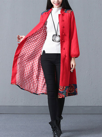 Elegant Chinese Button A-Line Coats-Newchic-
