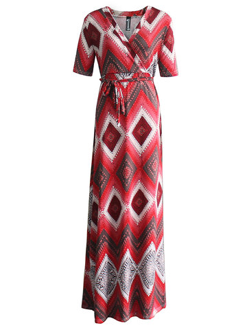 Elegant Digital Geometric Printed Maxi Dresses For Women-Newchic-