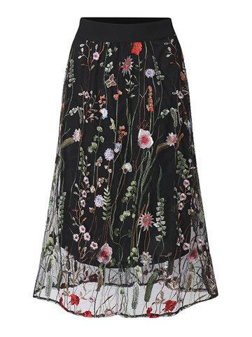 Elegant Embroidery Elastic Waist Chiffon Skirt-Newchic-