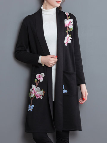Elegant Embroidery Thick Pockets Long Sleeve Kimonos For Women-Newchic-