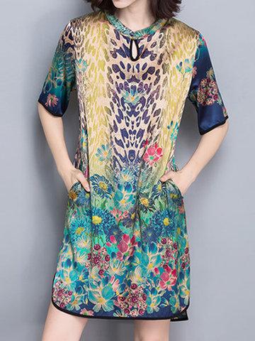 Elegant Floral Print Split Short Sleeve O-neck Dress For Women-Newchic-