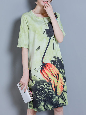 Elegant Flower Printed Half Sleeve Dress-Newchic-