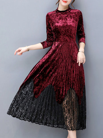 Elegant Lace Patchwork Velvet Dresses-Newchic-