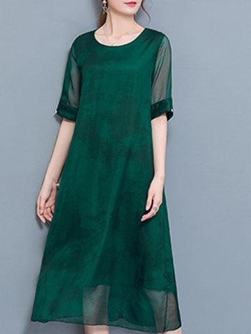 Elegant Print Patchwork Half Sleeve O-neck Mid-long Women Dress-Newchic-