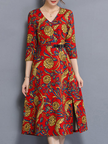 Elegant Printed Belt Slim Women Dresses-Newchic-