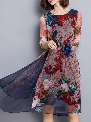 Elegant Printed Half Sleeves Dress-Newchic-