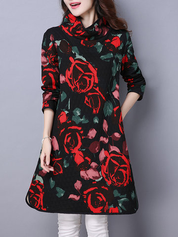Elegant Rose Print Quilted Pockets Stand Collar Side Split Dress-Newchic-