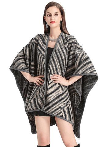 Elegant Striped Thick Bat Sleeve Knitted Shawl-Newchic-