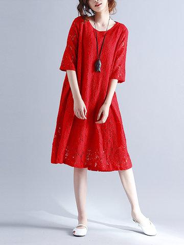 Elegant Women Half Sleeve O-Neck Lace Dresses-Newchic-