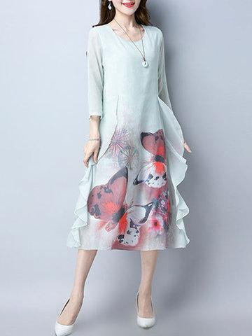 Elegant Women Printed 3/4 Sleeve O-Neck Chiffon Dresses-Newchic-