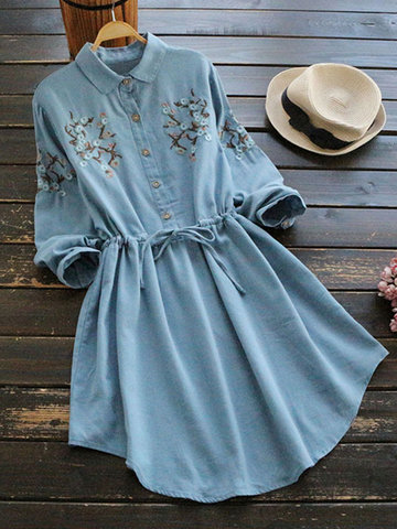 Embroidered Drawsting Long Sleeve Dresses-Newchic-